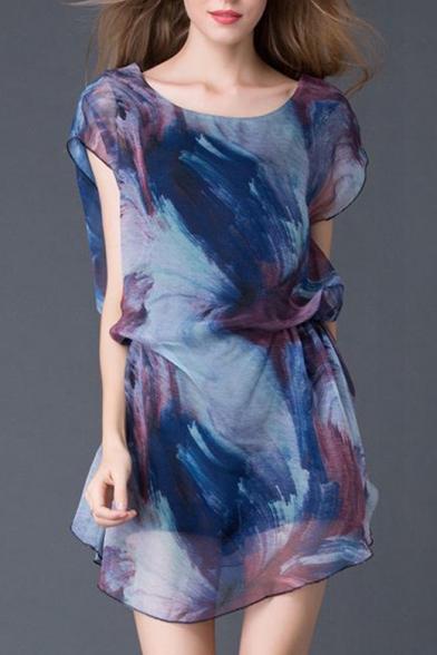 New Arrival Oversize Round Neck Short Sleeve Tie Dye Mini Asymmetrical Dress