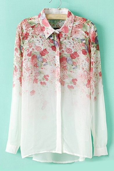 Fashion Lapel Sleeve Chiffon Long Shirt Printed Ombre Floral Collar New RIwqgdaxR