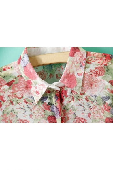 Chiffon Ombre Shirt Long Lapel Fashion Floral Printed New Collar Sleeve S8Cvqnx