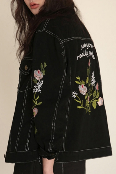 Retro Letter Floral Embroidered Lapel Collar Long Sleeve Buttons Down Denim Coat