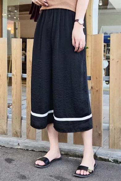Summer's Elastic Waist Striped Hem Loose Leisure Wide Legs Pants