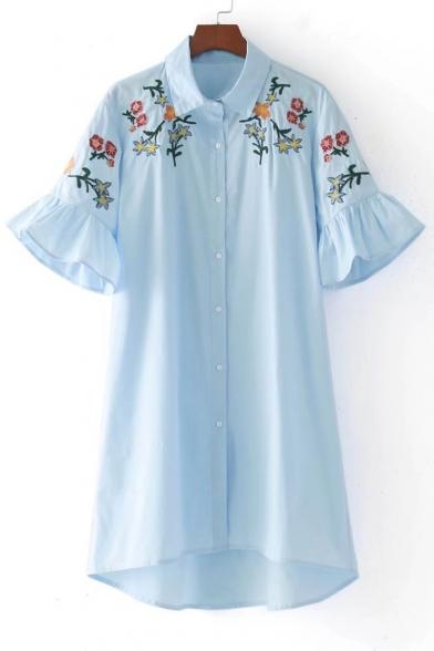 Symmetric embroidery floral shoulder bell short sleeve for Bell bottom sleeve shirt