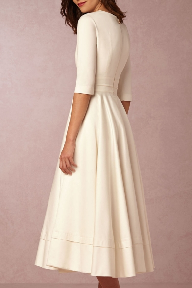Hot Fashion Elegant Chic Plunge Neck Half Sleeve Plain Midi A-Line Dress