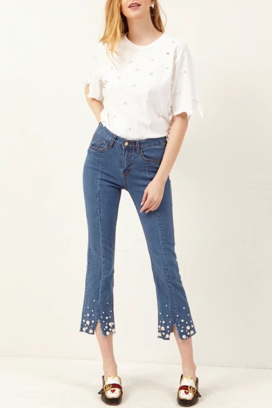 New Arrival Chic Pearl Embellished Hem High Waist Skinny