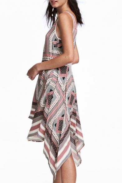 New Fashion Geometric Printed Round Neck Sleeveless Asymmetrical Tank Dress