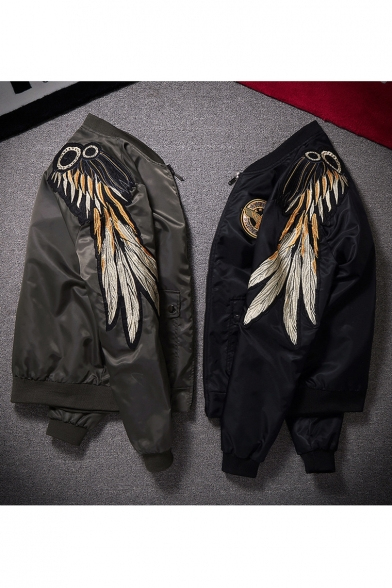 Retro Gold Wings Embroidered Stand Up Collar Long Sleeve Zip Up Bomber Jacket