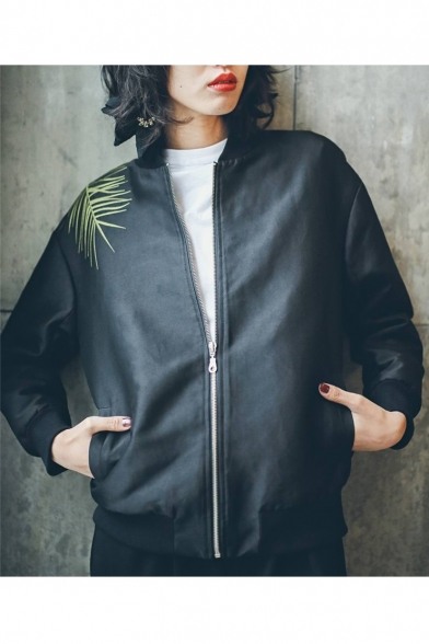 Retro Jacket Embroidered Zip Sleeve Up Back with Baseball Pockets Long Leaves rxw8rf