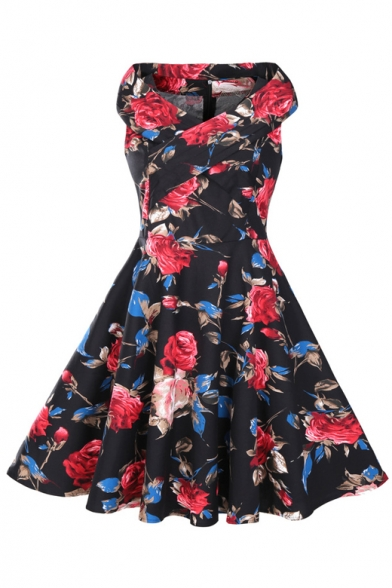 Vintage Floral Printed V Neck Sleeveless Oversize Midi A-Line Flared Dress