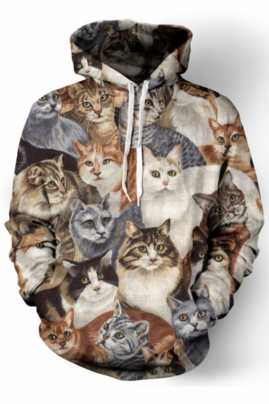 3D Cartoon Cats Pattern Long Sleeve Casual Loose Hoodie with Pockets