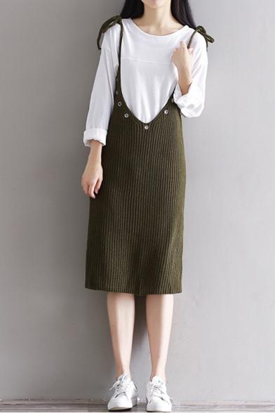 Basic Simple Bow Tie Spaghetti Straps Sleeveless Plain Knit Midi Overall Dress