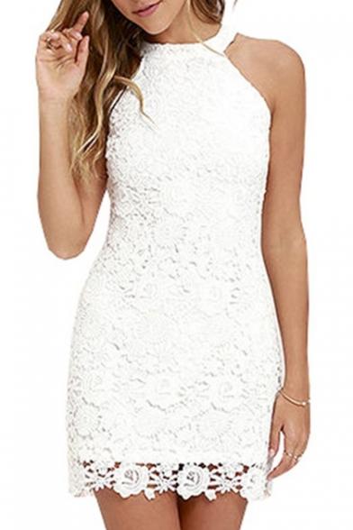 Elegant Sleeveless Halter Neck Plain Lace Mini Pencil Dress
