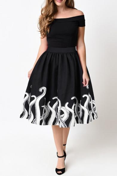 Fashion Fish Pattern Trim Elastic Waist Basic Midi Flare Skirt