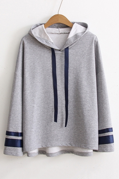 Loose Casual Oversize Long Sleeve Striped Cuff Dipped Hem Hoodie