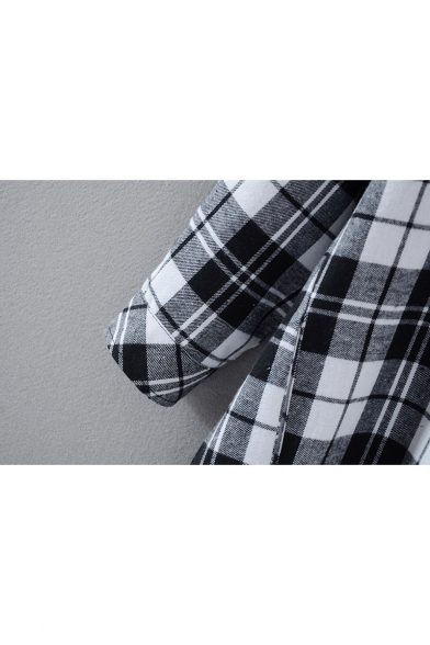 Block Breasted Tunic Plaid Loose Shirt Single Color Lapel wzEqcfAX