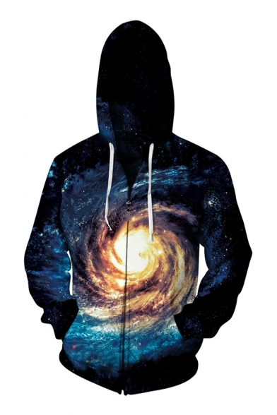 New Arrival Stylish 3D Whirlpool Printed Long Sleeve Zip Up Hoodie