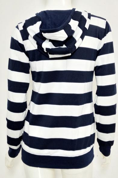 Women's Striped Color Block Zip Fly Hoodie Sweatshirt