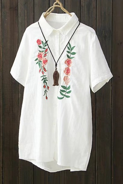 Basic simple floral embroidered short sleeve lapel collar