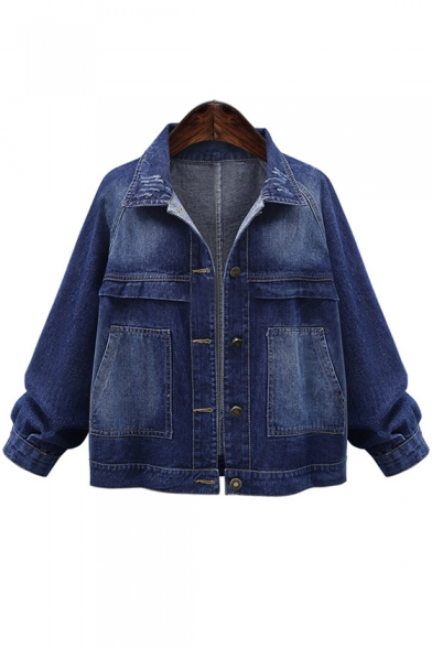 Casual Oversize Lapel Collar Long Sleeve Plain Buttons Down Denim Jacket