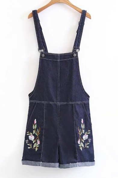 Chic Floral Embroidered Casual Leisure Denim Overalls Rompers