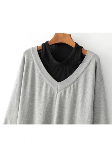 Fake Two-Piece Cold Shoulder Round Neck Long Sleeve Mini Knit Sweater Dress
