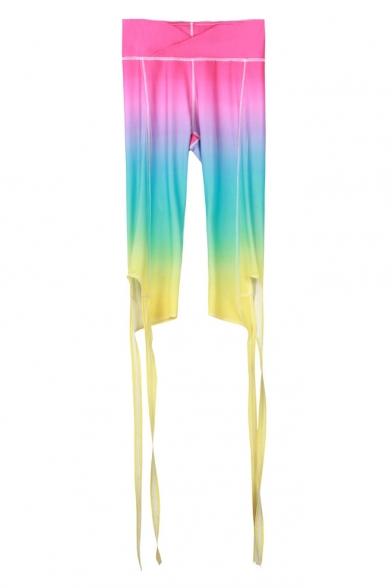 189322e4b920e9 Hot Fashion Color Block Elastic Waist Ballet Bandage Sports Bodybuilding  Capris Leggings