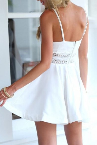 Lace Inserted Waist Spaghetti Straps Plain Mini A-Line Slip Dress