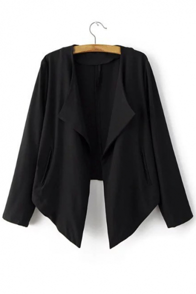 Notched Lapel Collar Long Sleeve Fashion Asymmetrical Hem Plain Blazer Coat