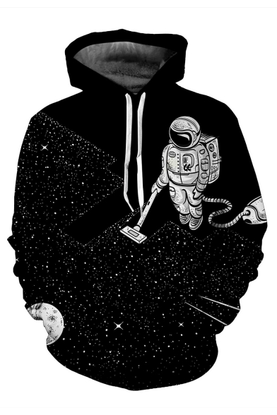 Fashion Loose Long Printed Hoodie Space Casual Hot Astronaut Sleeve Ow6dFO0q