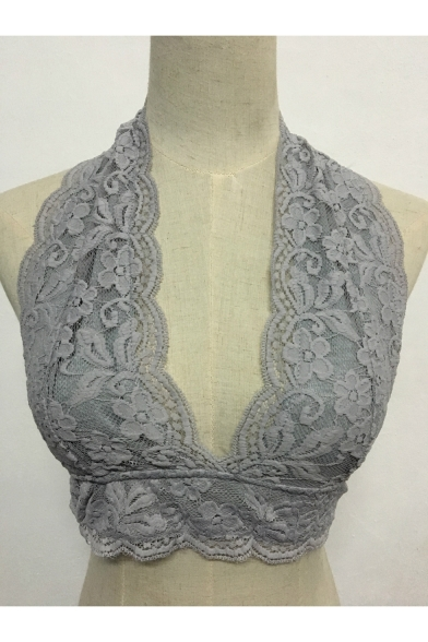 Arrival Sleeveless Lace Inserted Bra Neck Top Sexy Halter Fashion Plunge New Aqd816A
