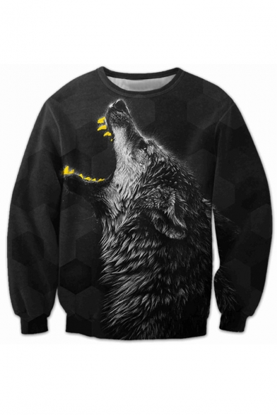 New Fashion 3D Wolf Pattern Round Neck Long Sleeve Pullover Sweatshirt