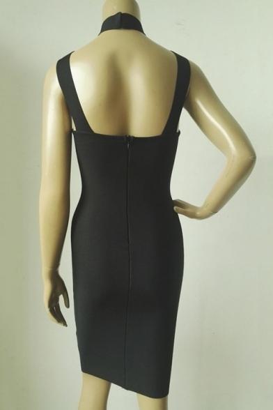 Summer's New Trendy High Neck Hollow Out Sleeveless Plain Bodycon Midi Dress