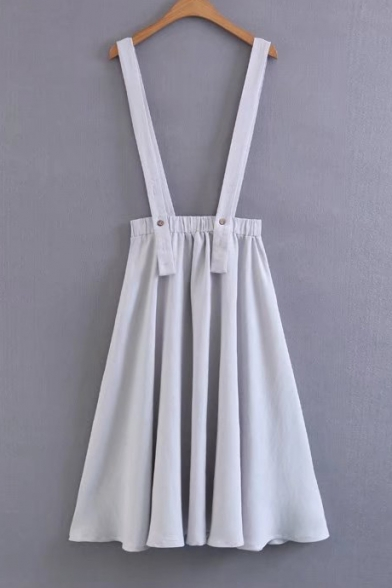 Summer's Simple Plain Elastic Waist Straps Midi A-Line Overall Skirt