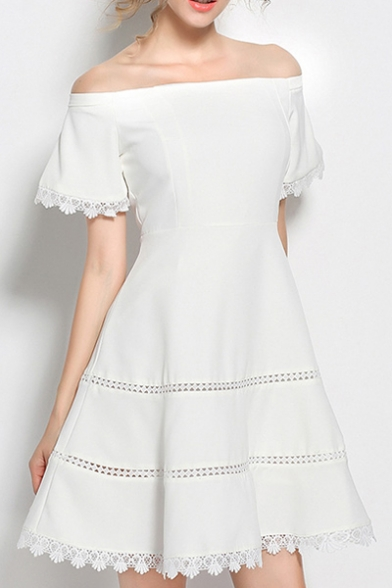 Chic Lace Inserted Trim Off The Shoulder Short Sleeve Mini A-Line Dress