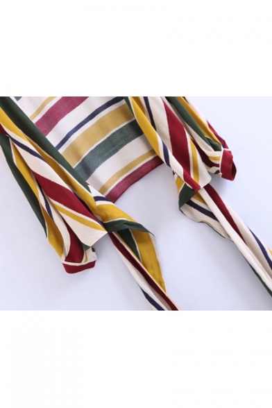 New Fashion Color Block Striped Printed Long Sleeve Wrap Plunge Neck Blouse