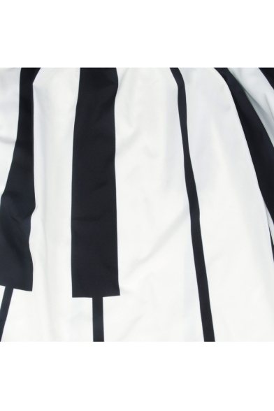 05ba923d9 ... New Fashion Striped Printed High Rise Elastic Waist Midi Flared Skirt