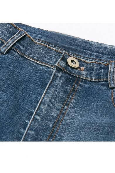 New Stylish Cutout Cuffs Mid Waist Plain Basic Skinny Jeans