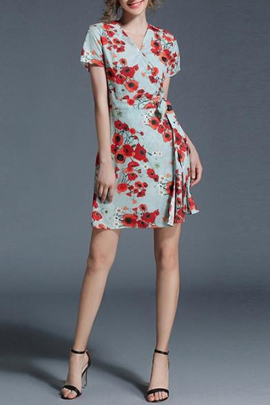 9211ff0190f Retro Floral Printed V Neck Short Sleeve Elegant Mini A-Line Dress -  Beautifulhalo.com