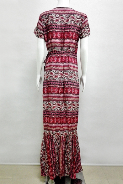 Summer's Holiday Beach Tribal Printed V Neck Short Sleeve Maxi Wrap Dress