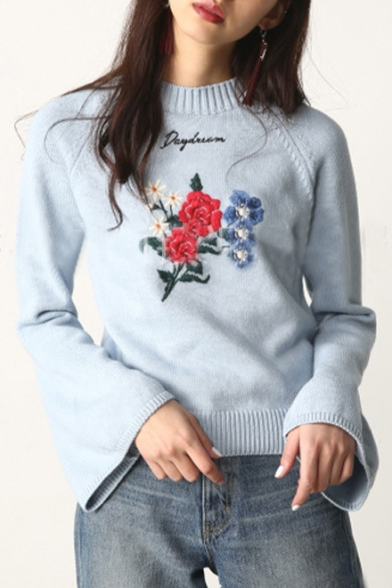 Letter Pullover Sweater Round Simple Embroidered Long Basic Floral Sleeve Neck x8EwIC