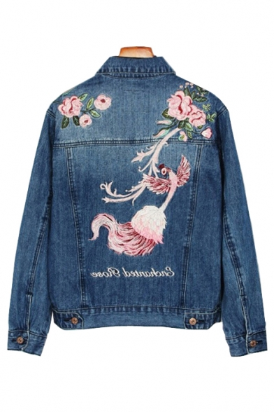 Chic Floral Bird Embroidered Back Lapel Collar Long Sleeve
