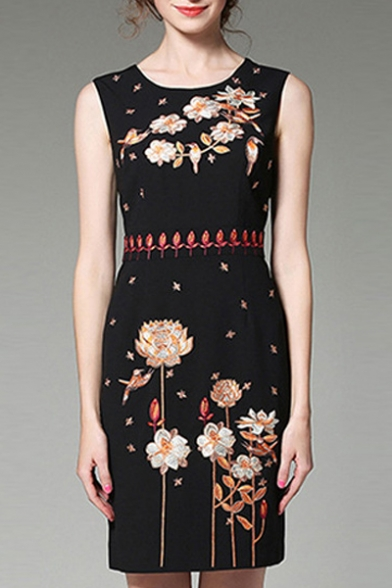 Chic Floral Embroidered Round Neck Sleeveless Midi Pencil Tank Dress