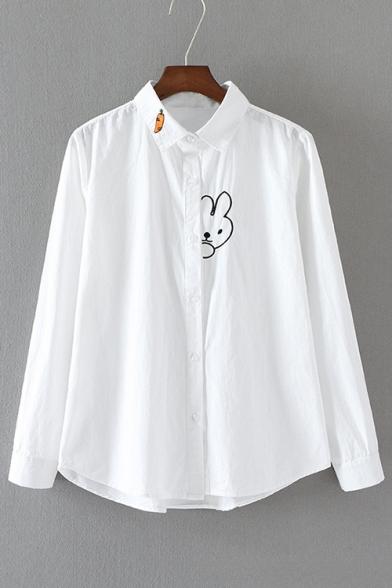Lovely Cartoon Rabbit Pattern Lapel Collar Long Sleeve Buttons Down Shirt