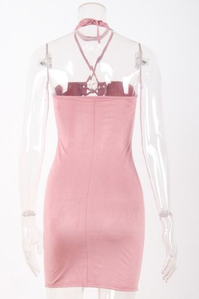 Plain Halter Sexy Up Grommet Bodycon Mini Lace Neck Sleeveless Dress FFqY76