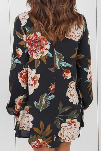 Summer's Chic Floral Printed V Neck Long Sleeve Casual Pullover Blouse