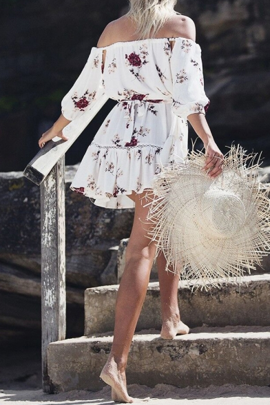 Vocational Off the Shoulder 3/4 Length Sleeve Floral Printed Mini Beach Dress