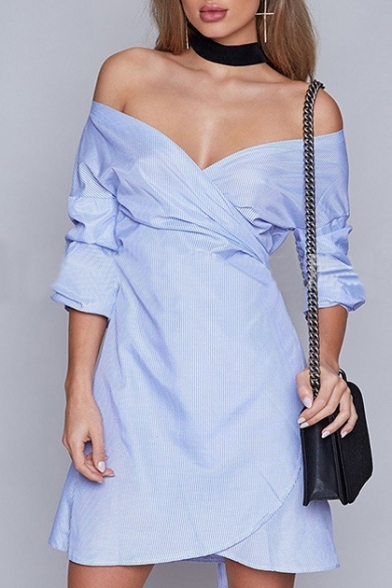 Chic Striped Half Sleeve Wrap V-Neck Belt Waist Asymmetric Dress