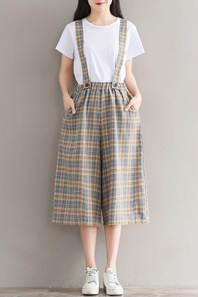 Classic Plaids Pattern Summer's Loose Wide Legs Capris Overall Linen Pants