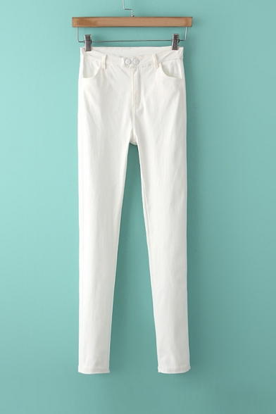 High Waist Basic Simple Plain High Elasticity Skinny Pants