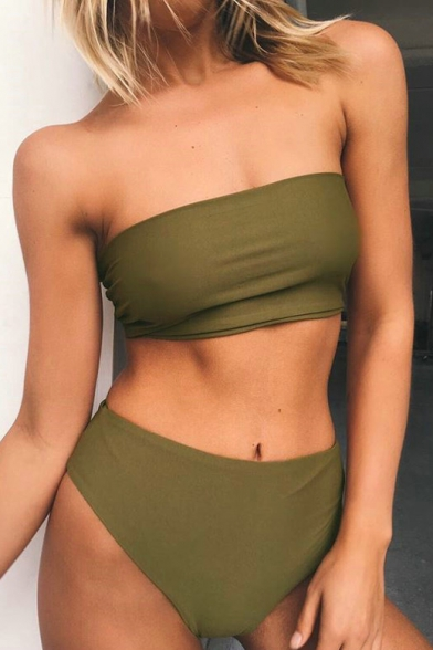 New Arrival Bandeau Top High Waist Bottom Plain Swimwear Suits