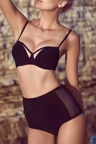 Swimwear New Classic Black Bikini High Collection Bottom Waist Plain 1R6nqBx1